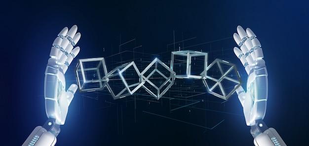 Mão de ciborgue segurando um cubo blockchain Foto Premium