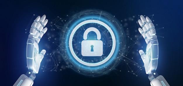 Mão de ciborgue segurando um ícone de segurança de tecnologia em um círculo Foto Premium