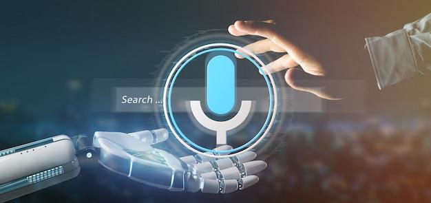 Mão de ciborgue segurando um sistema de pesquisa ocal com renderização de botão e ícone 3d Foto Premium
