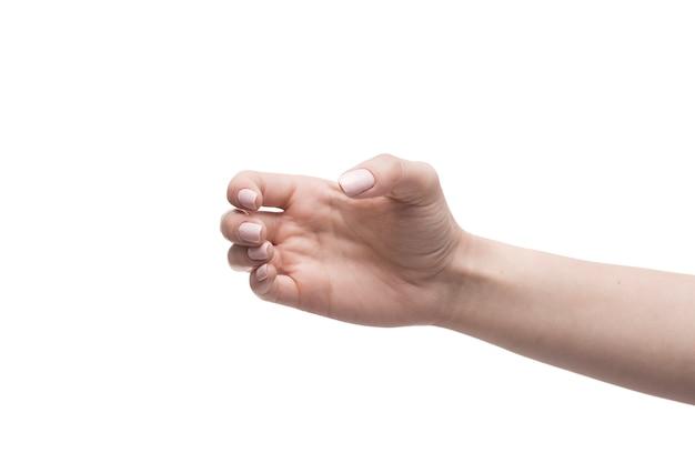 Mão de colheita segurando objeto invisível Foto gratuita
