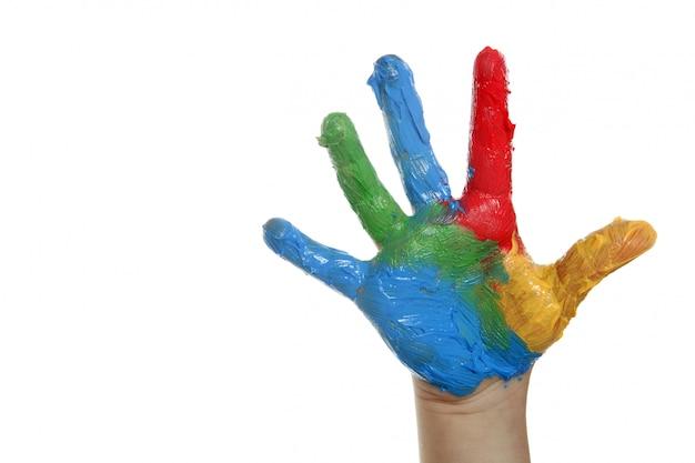 Mão de crianças colorido pintado sobre branco Foto Premium