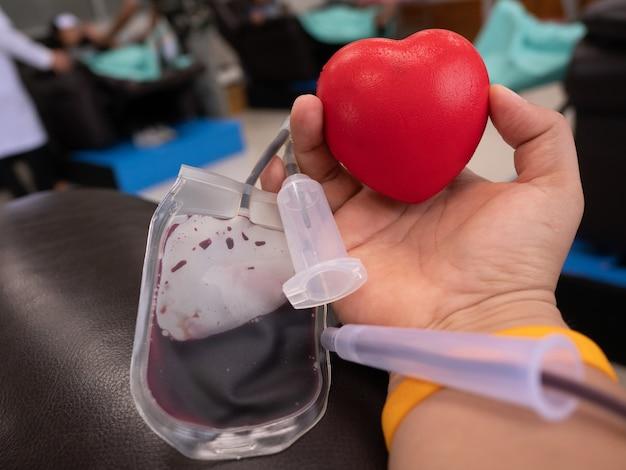 Mão, de, doador sangue, bola, durante, procedimento Foto Premium