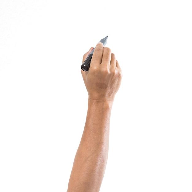 Mão de homem com caneta isolada na superfície branca Foto Premium