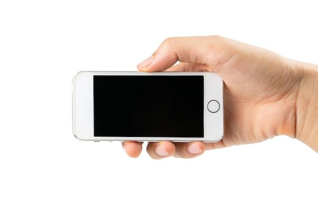 Mão de homem segurando smartphone isolado Foto Premium