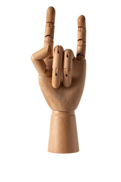 Mão de madeira no fundo branco com traçado de recorte Foto Premium