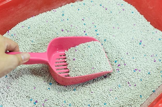 Mão de mulher está limpando a caixa de areia do gato com uma colher rosa Foto Premium