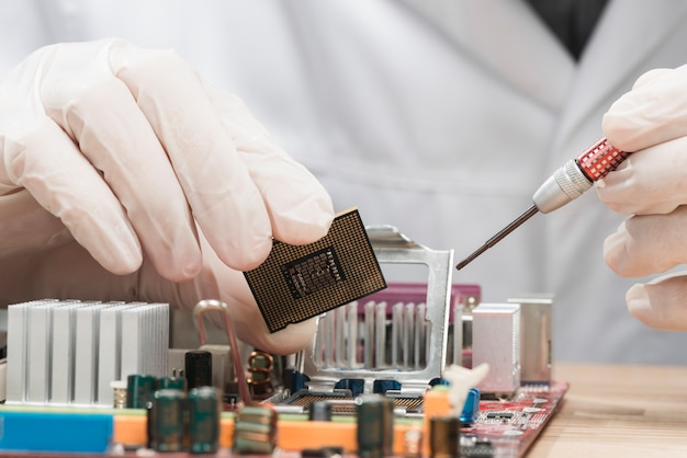 Mão de técnico masculino segurando o chip de computador Foto gratuita