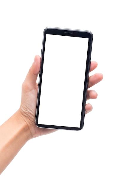 Mão de uma mulher segurando o smartphone preto com tela em branco, isolada no fundo branco Foto Premium