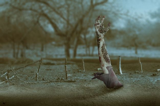 Mão de zumbi com sangue e ferida levantada do chão Foto Premium