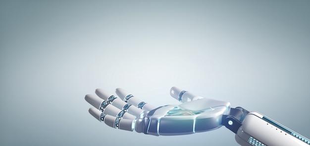 Mão do robô do cyborg em uma rendição 3d uniforme do fundo Foto Premium