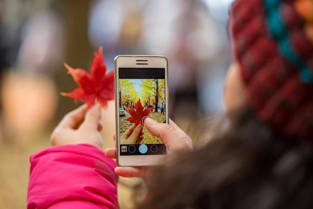 Mão do turista que guarda o telefone celular ao tomar uma fotografia da folha de bordo na estação de folha. Foto Premium