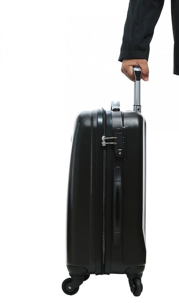 Mão empresário, com, bagagem Foto Premium