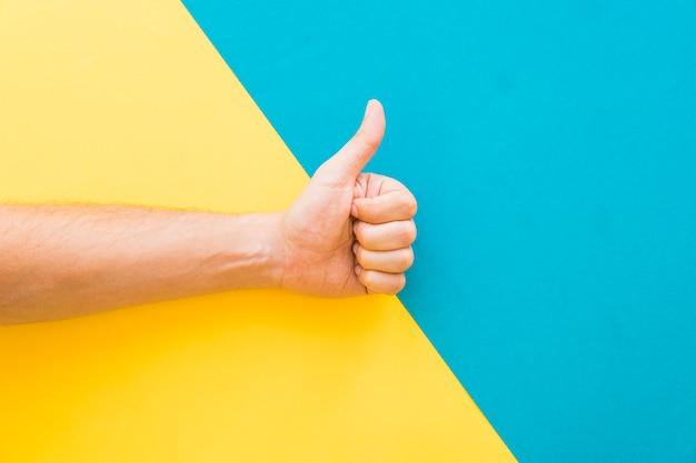 Mão fazendo gesto de polegar para cima Foto Premium
