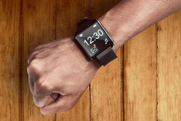 Mão humana, desgastar, esperto, relógio Foto Premium