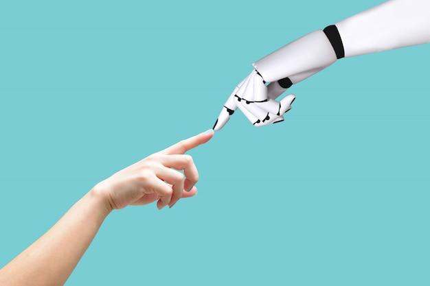 Mão humana e conceito de sistema de mão de robô integração e coordenação de tecnologia intelectual Foto Premium