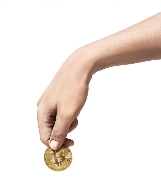 Mão humana, segurando, bitcoin ouro Foto Premium
