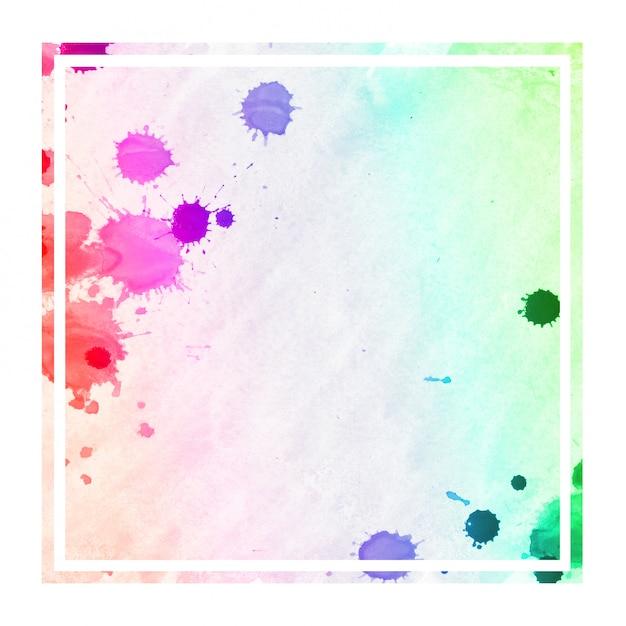 Mão multicolorida extraídas textura de fundo aquarela moldura retangular com manchas Foto Premium