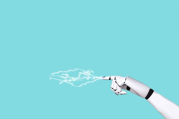 Mão, robô, conceito, 4.0, e, tecnologia, onda elétrica Foto Premium