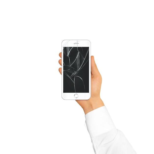 Mão segurando a tela do telefone quebrado isolada Foto Premium