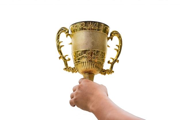 Mão, segurando, dourado, troféu, copo, levante, cima, experiência Foto Premium