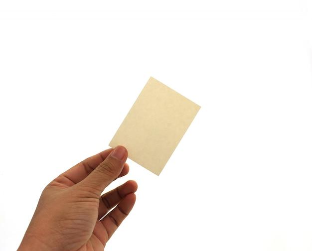 Mão segurando o cartão em branco na mão. Foto Premium