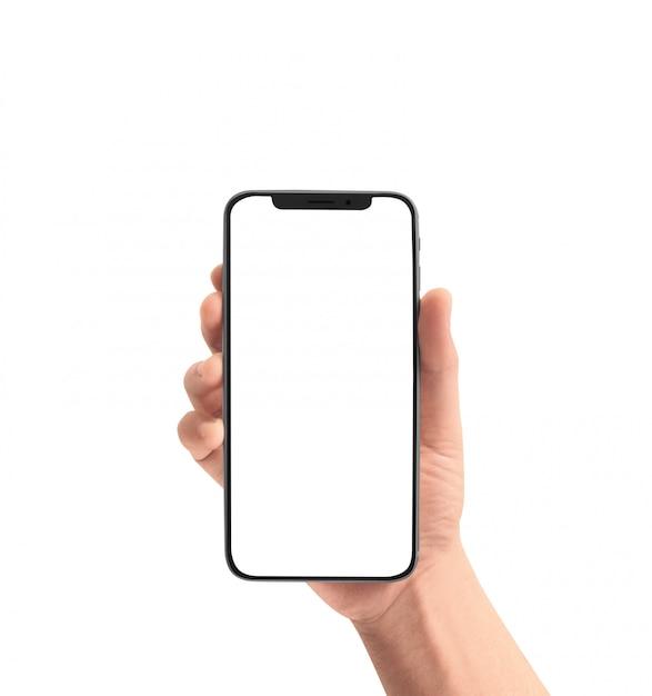 Mão segurando o dispositivo de smartphone Foto Premium