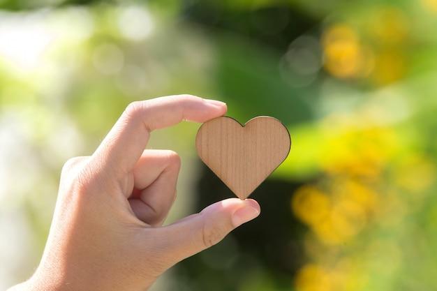 Mão segurando o pequeno coração de madeira na doença de background.heart verde Foto Premium