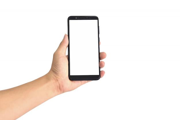 Mão, segurando, pretas, smartphone, com, em branco, tela, isolado Foto Premium