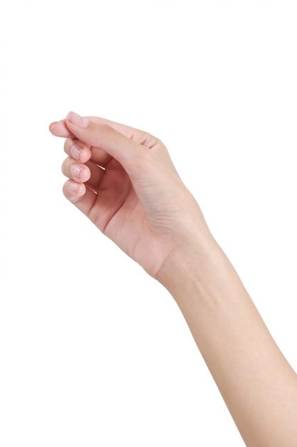 Mão vazia da mulher que guarda com o lado da mão dianteira isolado no branco Foto Premium