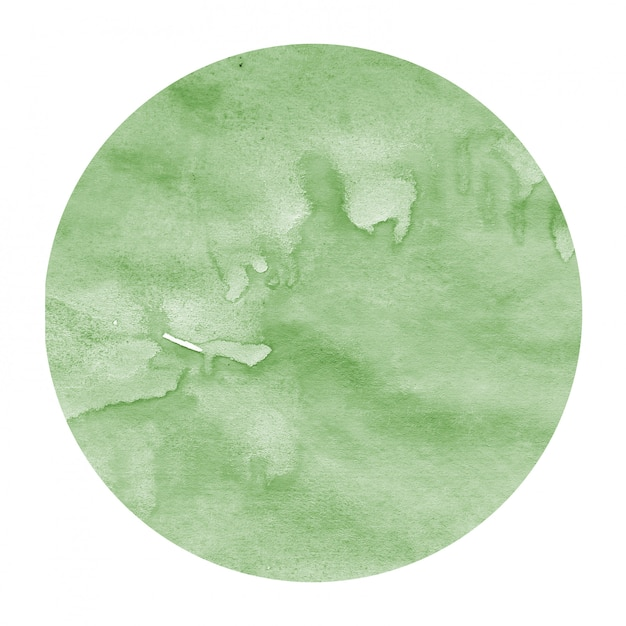 Mão verde escuro desenhada textura de fundo quadro aquarela circular com manchas Foto Premium