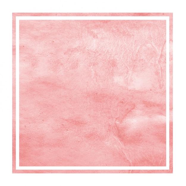 Mão vermelha extraídas textura de fundo aquarela moldura retangular com manchas Foto Premium