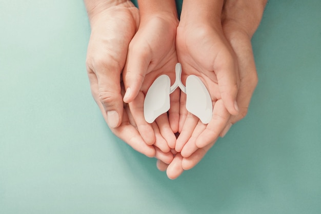 Mãos de adulto e criança segurando o pulmão, dia mundial da tuberculose, dia mundial sem tabaco, vírus corona covid-19, poluição do ar ecológica. conceito de doação de órgãos Foto Premium