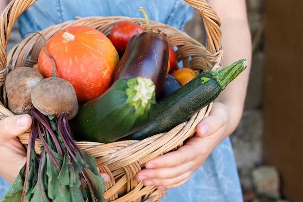 Mãos de close-up, segurando a cesta com legumes Foto gratuita