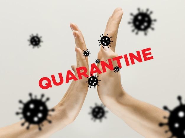 Mãos humanas tremendo, evite saudações enquanto epidemia de coronavírus Foto gratuita