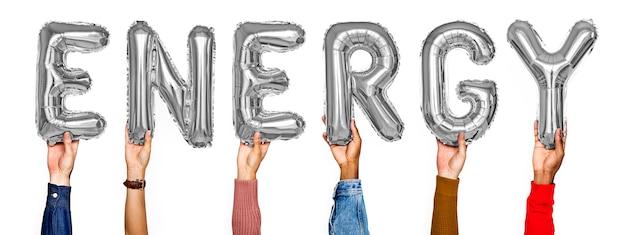 Mãos, mostrando, energia, balões, palavra Foto gratuita
