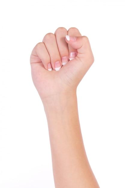 Mãos mulher vazia isolado no fundo branco Foto gratuita