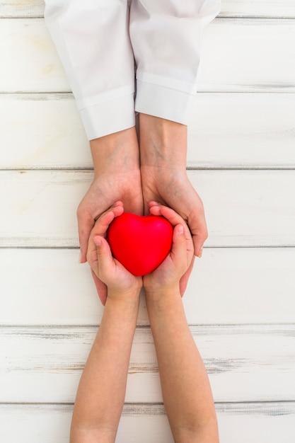 Mãos, segurando, coração Foto gratuita
