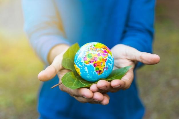Mãos, segurando, globo, e, folha Foto gratuita