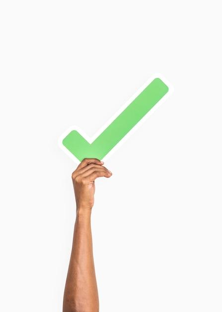 Mãos, segurando, marca tiquetaque, ícone Foto gratuita