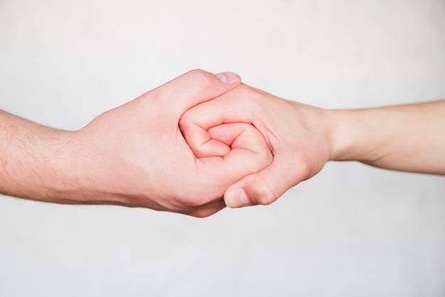 Mãos unidas no fundo branco Foto gratuita