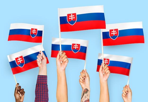 Mãos, waving, bandeiras, de, eslováquia Foto gratuita