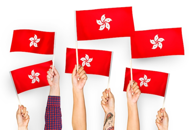 Mãos, waving, bandeiras, de, hong kong Foto gratuita