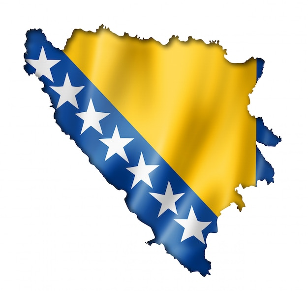 Mapa da bandeira da bósnia e herzegovinan Foto Premium