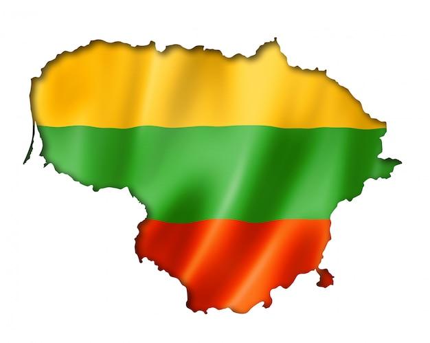 Mapa da bandeira da lituânia Foto Premium