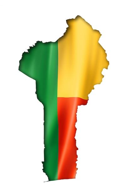 Mapa da bandeira de benin Foto Premium