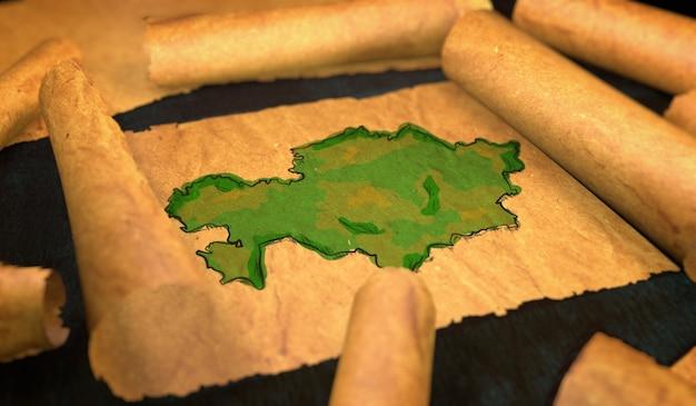 Mapa da cazaquistão pintura desdobrando papel velho rollo 3d Foto Premium