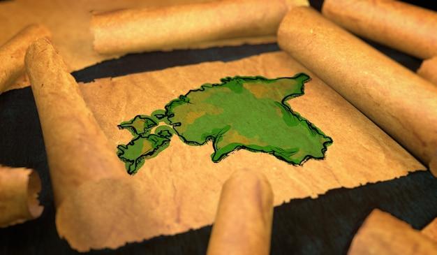 Mapa da estão pintura desdobrando papel velho rollo 3d Foto Premium