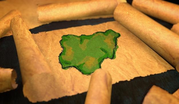 Mapa da nigéria pintura desdobrando papel velho rollo 3d Foto Premium