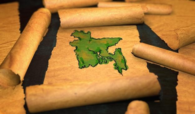 Mapa do bangladesh pintura desdobrando papel velho rollo 3d Foto Premium