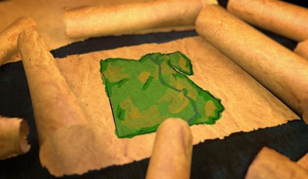 Mapa do egito pintura desdobrando papel velho rollo 3d Foto Premium